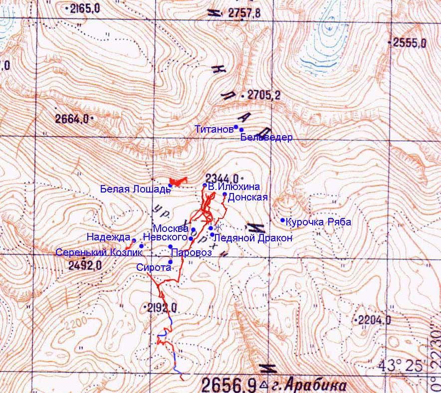 Карта района с нанесенными